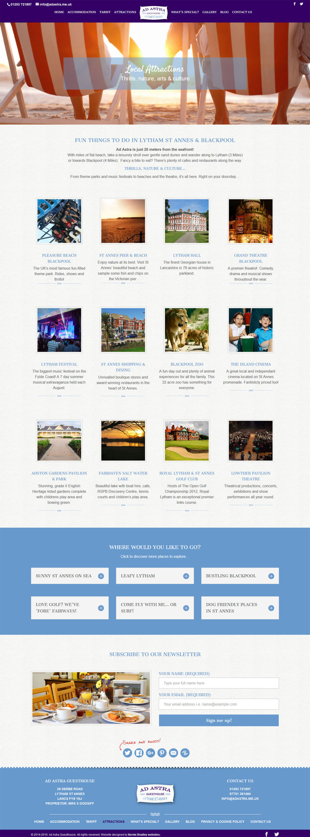 Attractions page beautifully displaying images and links to local places of interest