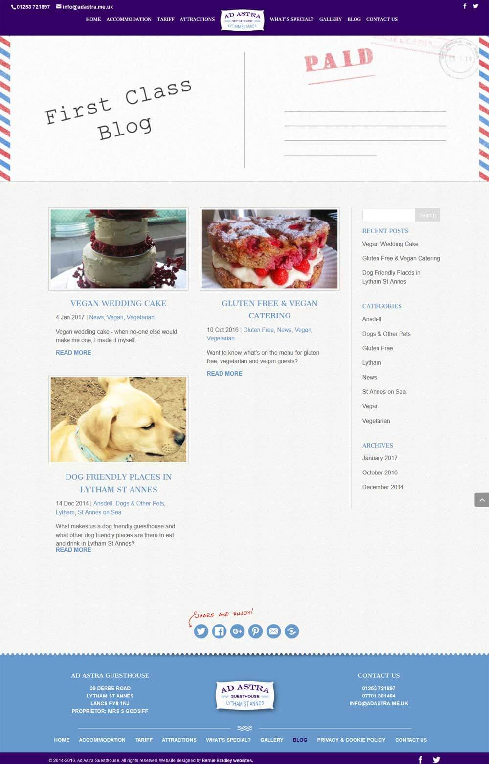 Blog listing page showing recent posts, blog categories and an archive of articles