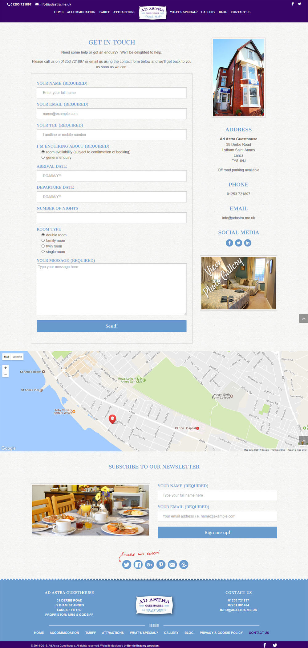 Contact Us page with custom enquiry form and Google Map