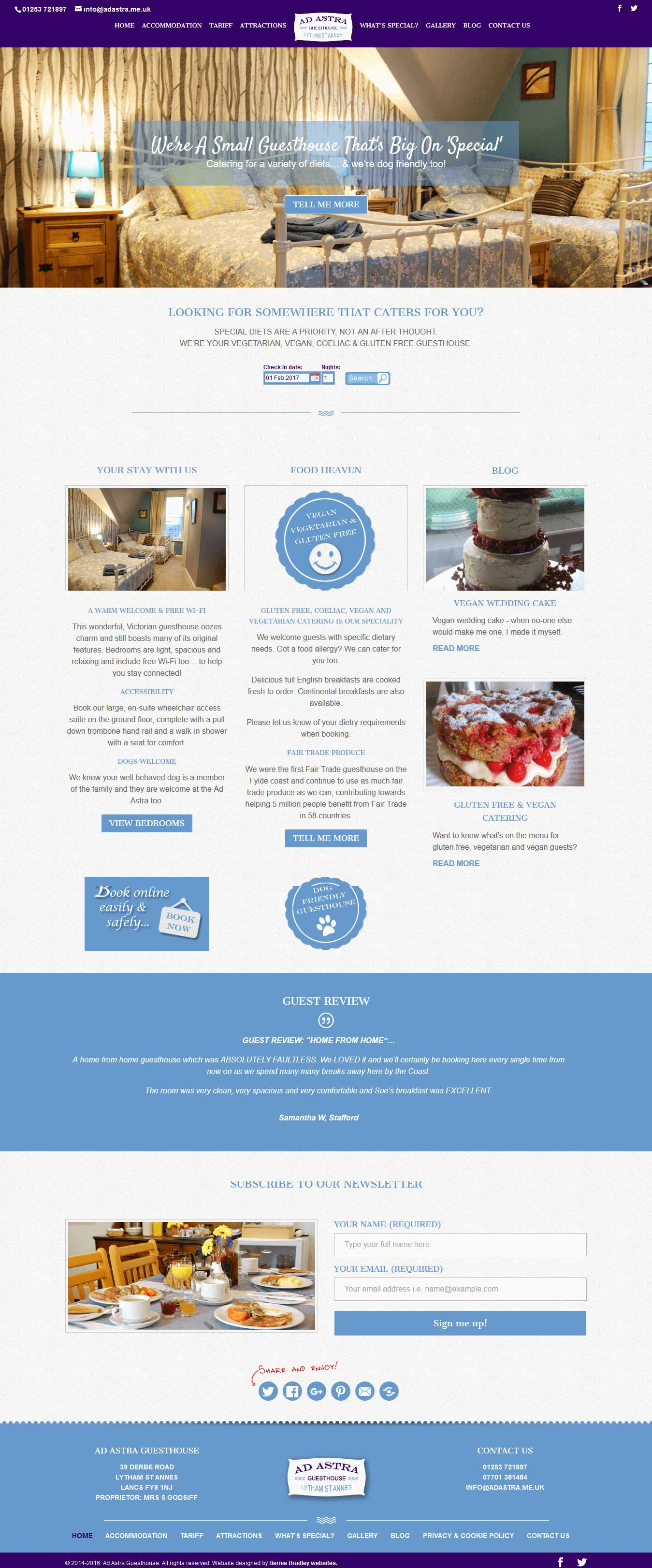 Mobile friendly website design for Ad Astra Guesthouse by Bernie Bradley Websites