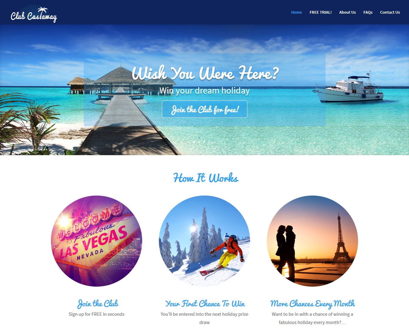 Club Castaway Holiday Prize Draw Web Design