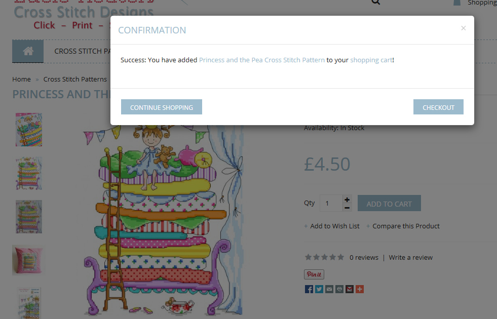 Screenshot showing confirmation of an order added to the shoppingcart