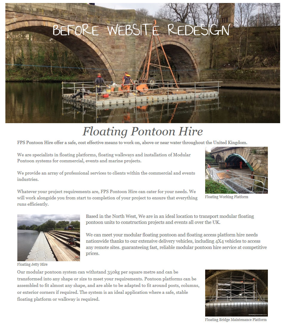 Floating Pontoon Solutions before website redesign