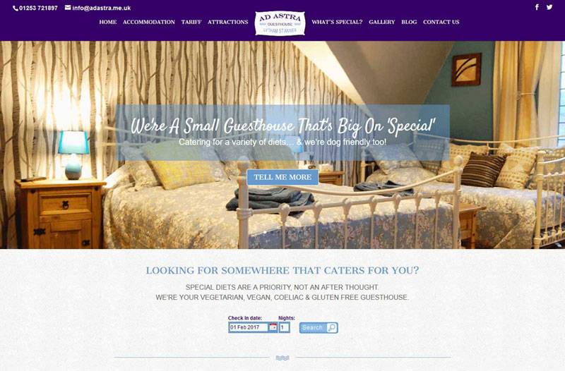 Ad Astra Guesthouse Online Bookings Web Design