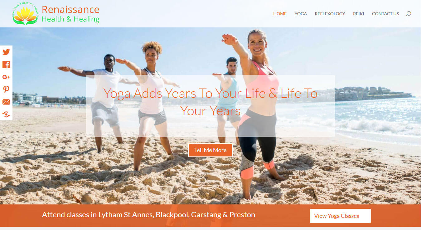 Home page banner - links to Yoga page