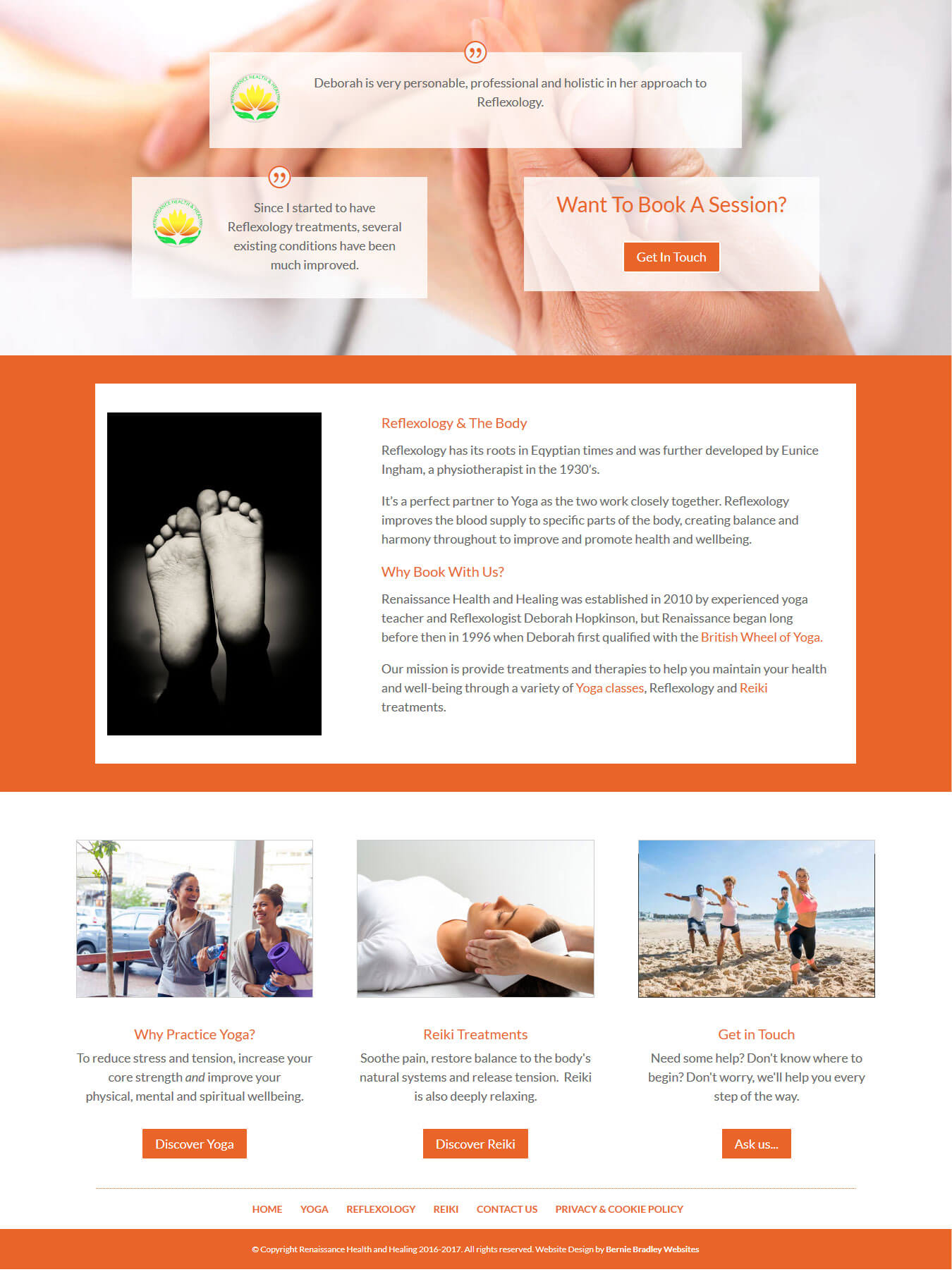 Reflexology page featured content, testimonials, call-to-actions and page footer