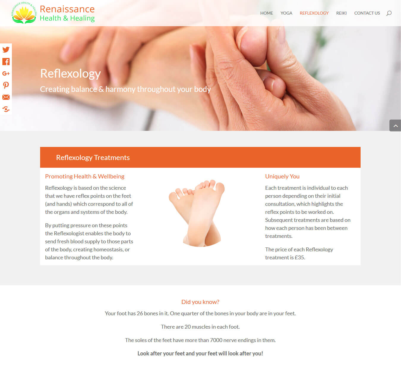 Reflexology page floating social media share buttons, image banner and introductory text