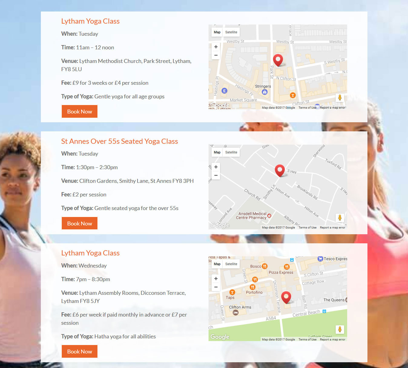 Yoga Page - mobile friendly website design showing yoga classes, interactive Google Maps and Book Now buttons