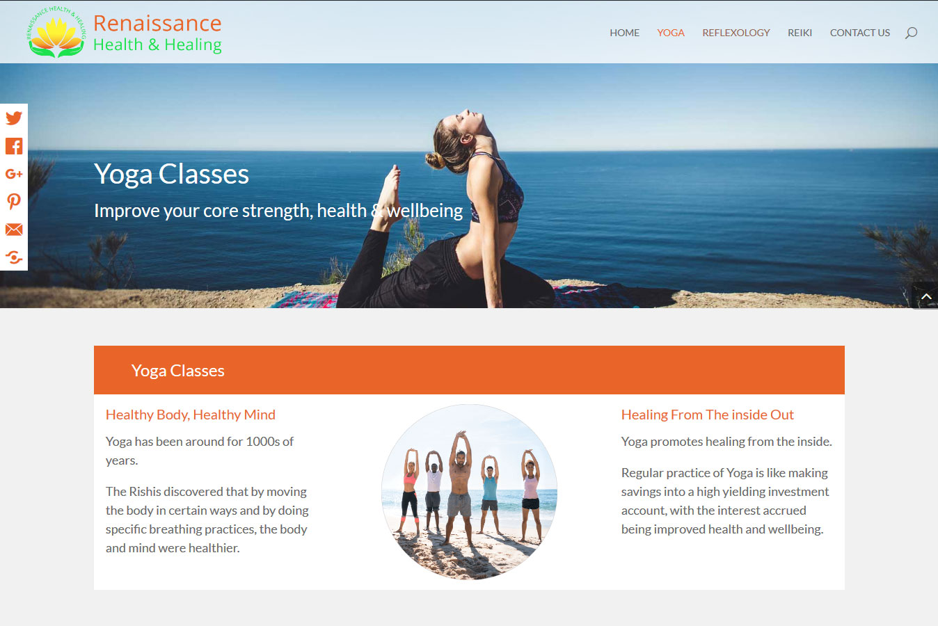 Mobile Friendly Website - Yoga page banner image and floating social media share buttons