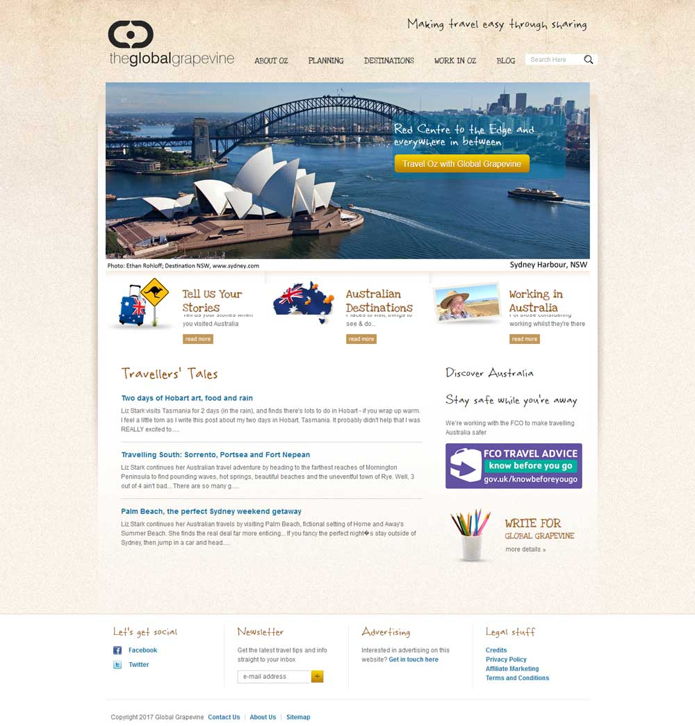 Global Grapevine's former Home page before their website was redesigned