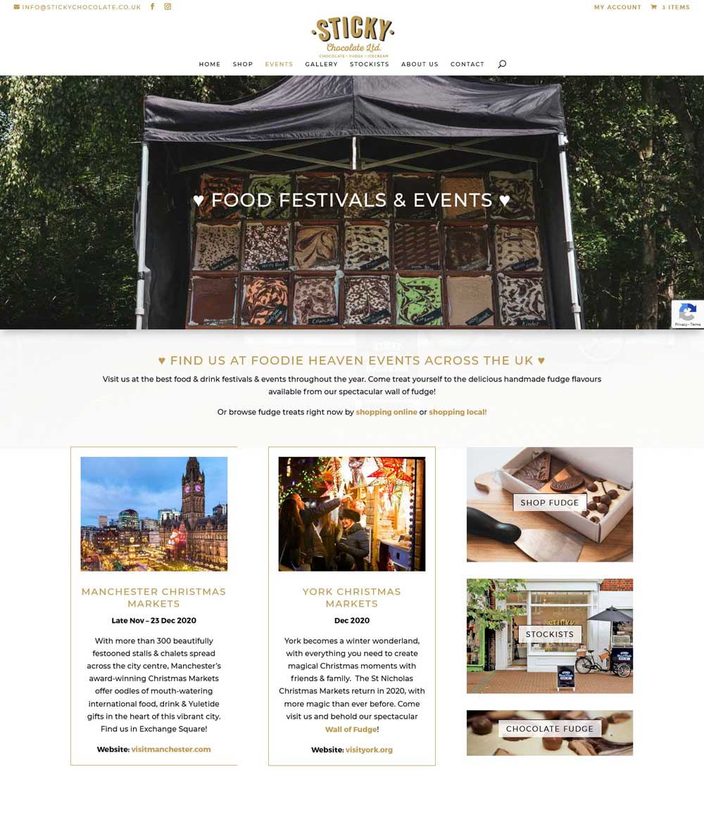 Food Festivals & Events page complete with links to the event venue's website