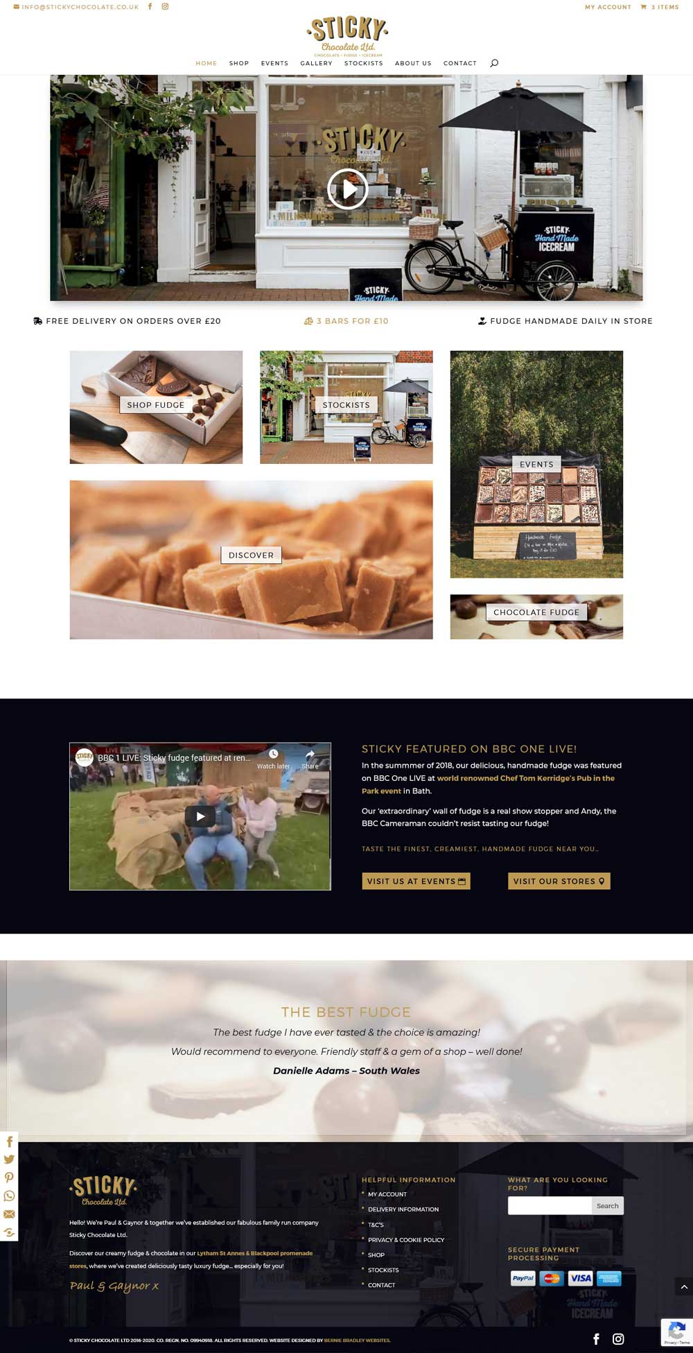 Sticky Chocolate Ltd eCommerce online store website design Home page