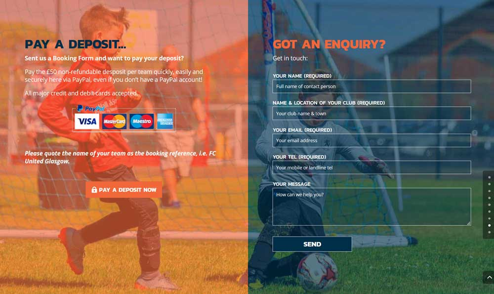 Booking information & a mobile responsive enquiry form
