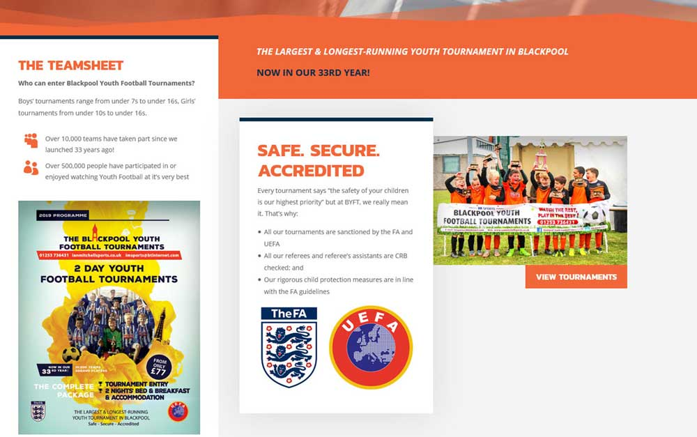 Stunning Blackpool Youth Football Tournaments mobile responsive web design