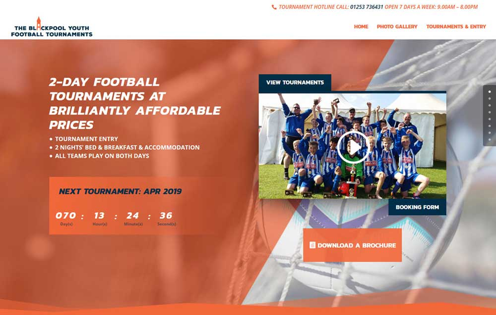 Eye-catching Blackpool Youth Football Tournaments mobile responsive web design with integrated YouTube featured video