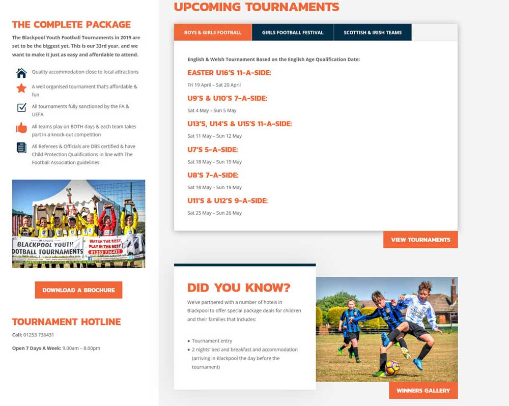 Tournament information is displayed in a visually engaging & user friendly layout in tabbed boxes