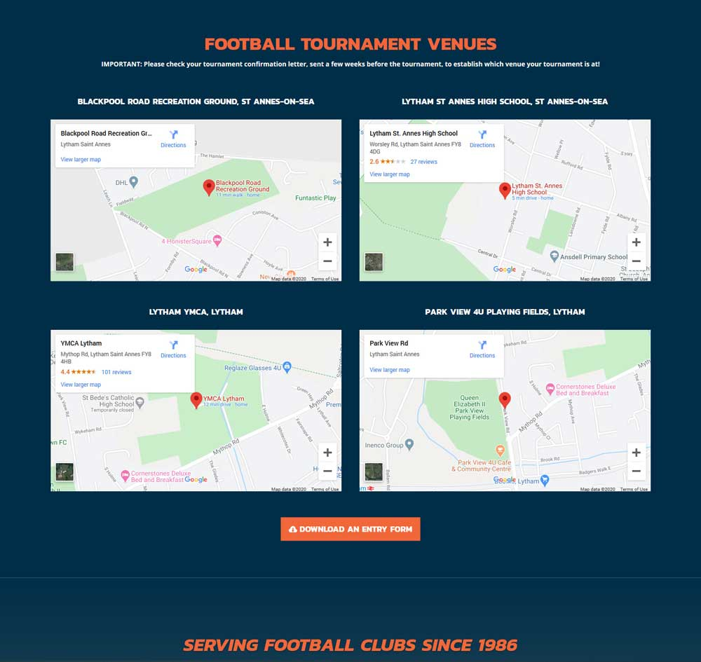 Responsive Google Maps displaying tournament locations