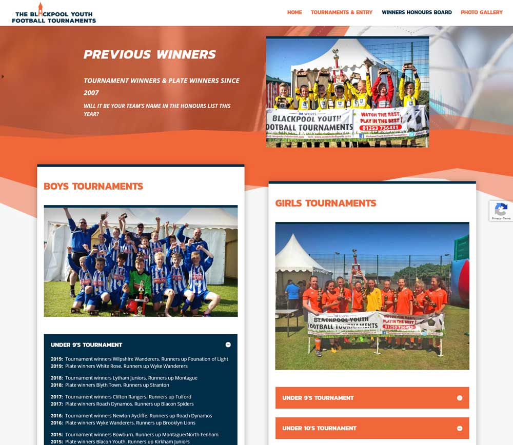 Previous tournament winners are displayed in engaging & user friendly toggle boxes