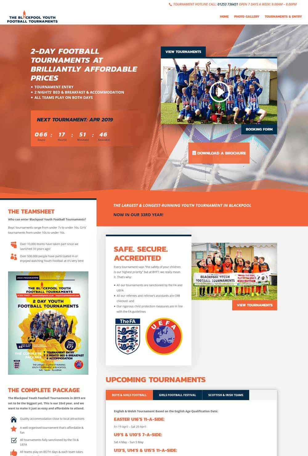 Blackpool Youth Football Tournaments new website design - Bernie Bradley Websites