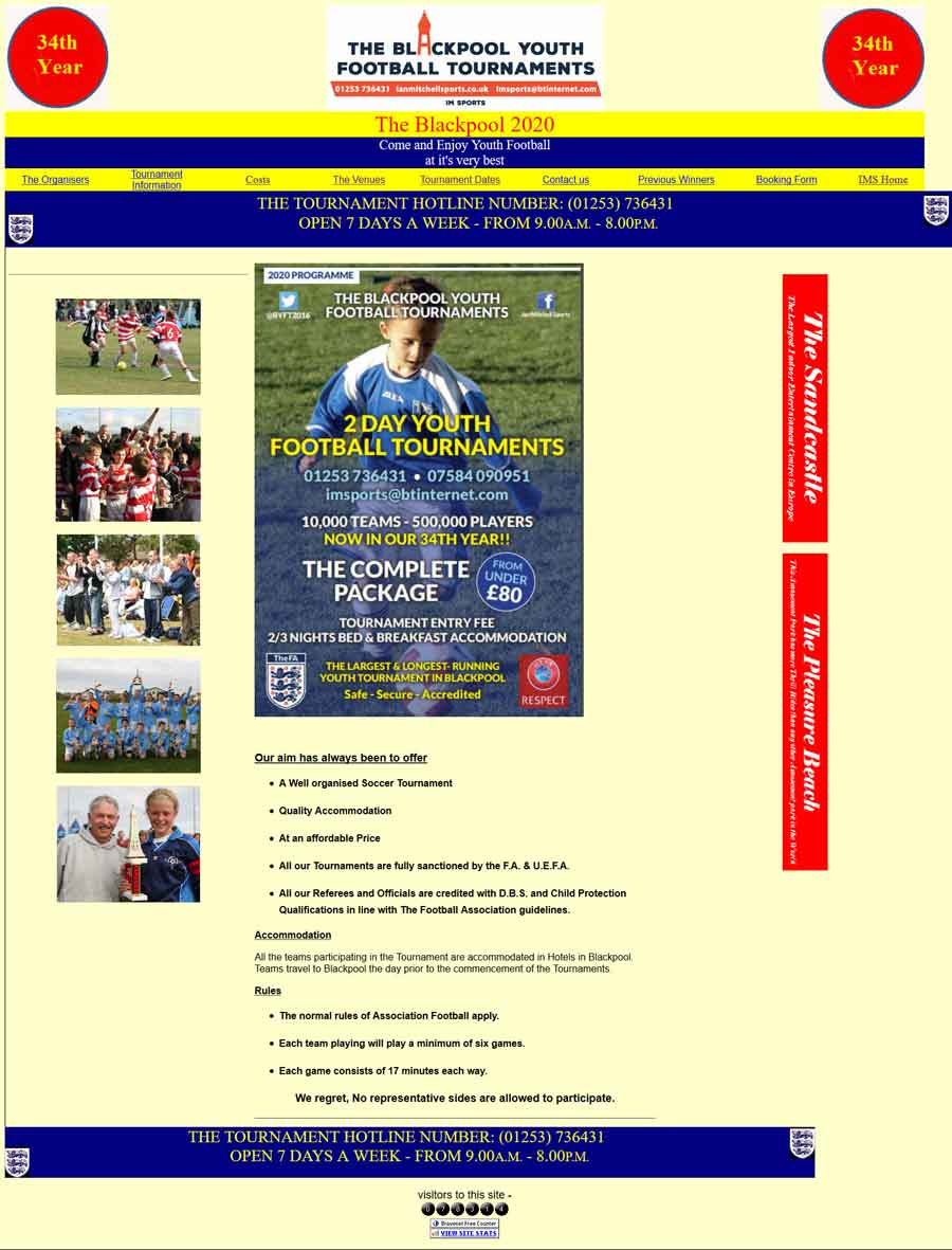 Blackpool Youth Football Tournament's website before the redesign