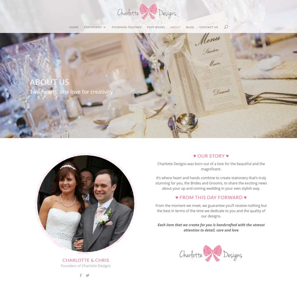 About Us page - the people behind the business, links to their social media accounts & details about the wedding shop