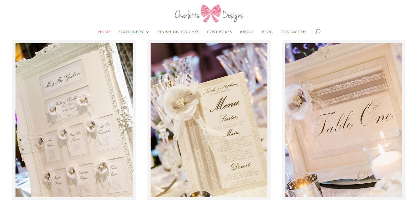 A hero image slider beautifully showcases wedding stationery products & services on the Home page
