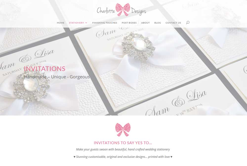 Hero banner at the top of the wedding invitations page