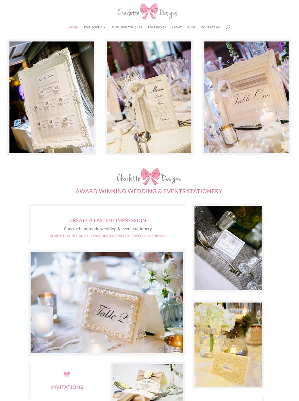 The stunning Charlotte Designs website design by Bernie Bradley Websites