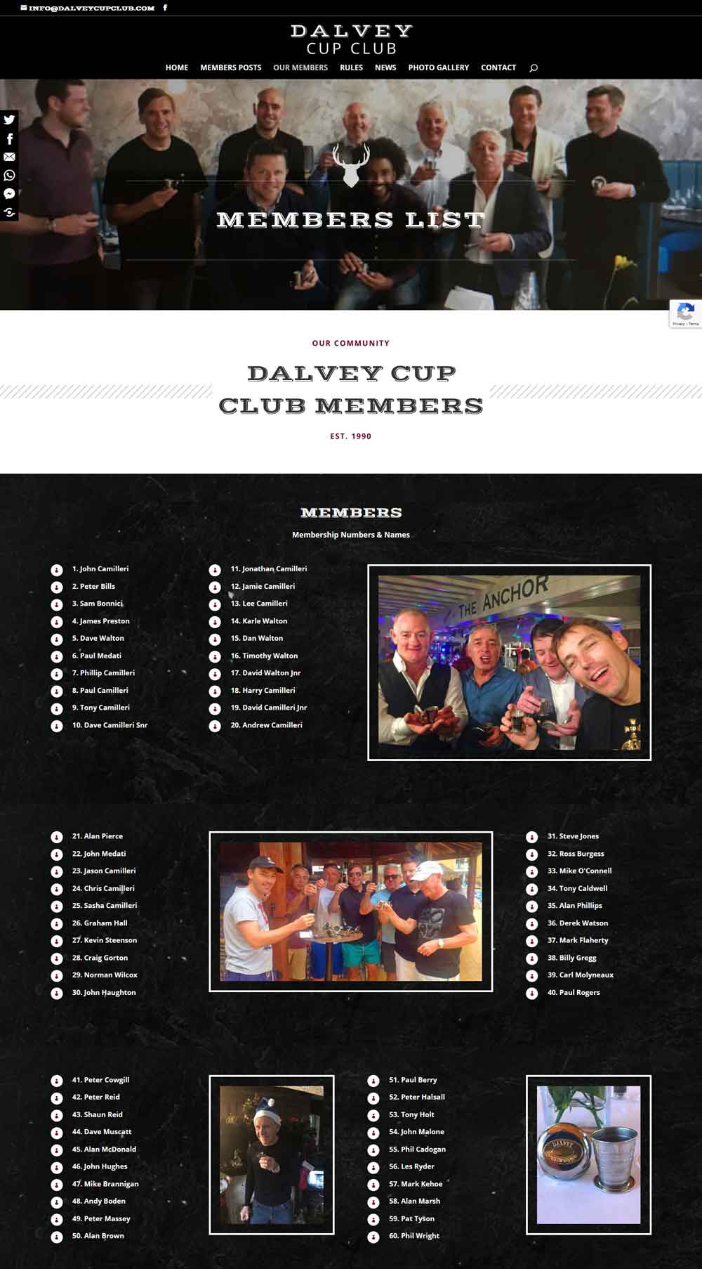 A section of the List of Dalvey Cup Club Members